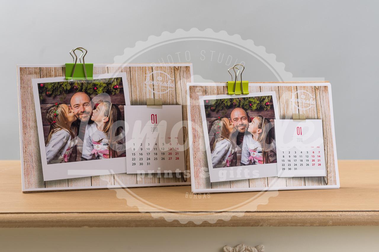 12 листов календар с дървен гръб 15х21